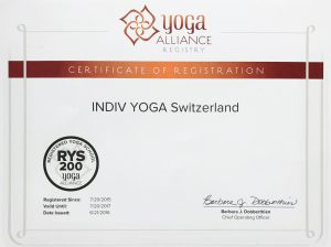 Indiv yoga school yoga alliance certificate