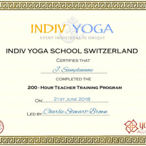 200 hours yoga Teacher Training certificate